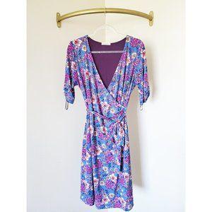 Gilli Floral Faux Wrap Dress Purple Blue M